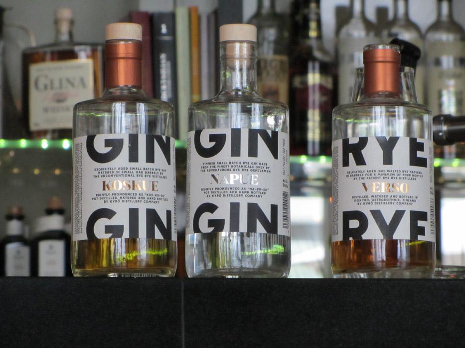 Koskue Barrel Aged Gin, Napue Gin und Verso Matured Rye Spirit